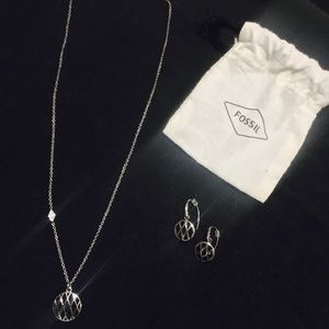 Matching Fossil Necklace/Earring Set